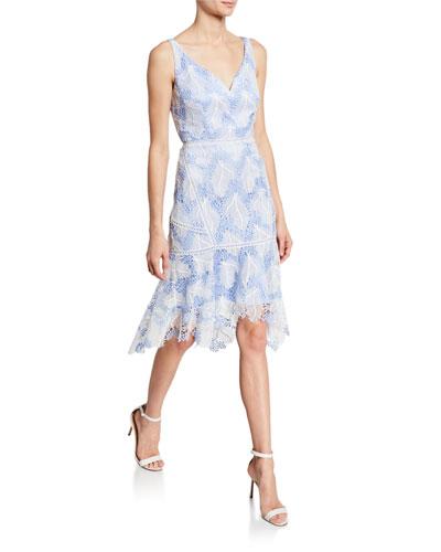 Mariya V-Neck Sleeveless Flounce-Hem Lace Cocktail Dress
