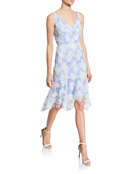 Mariya V-Neck Sleeveless Flounce-Hem Lace Cocktail Dress