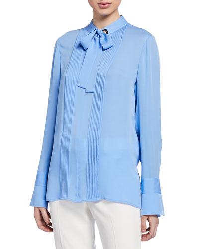 Lisa Tie-Neck Long-Sleeve Silk Blouse