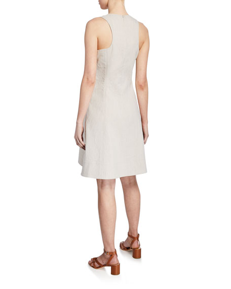 Londa V-Neck Sleeveless Fit-and-Flare Linen Dress