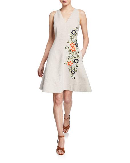 Elie Tahari Londa V-Neck Sleeveless Fit-and-Flare Linen Dress