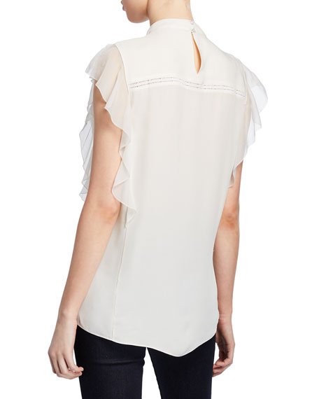 Antoinette Mock-Neck Ruffle-Sleeve Blouse with Lace