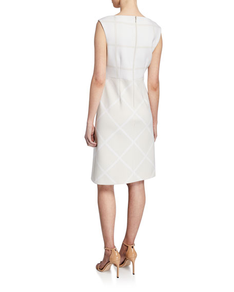 Lacey Bateau-Neck Cap-Sleeve Two-Tone Dress