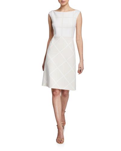 Lacey Bateau-Neck Cap-Sleeve Two-Tone Dress