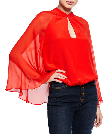 Prija Mandarin Collar Flared-Sleeve Cropped Blouse