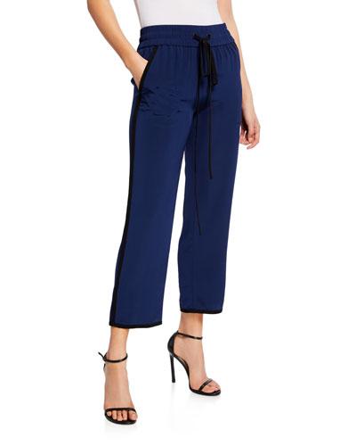 Lulu Cropped Pull-On Silk Pants