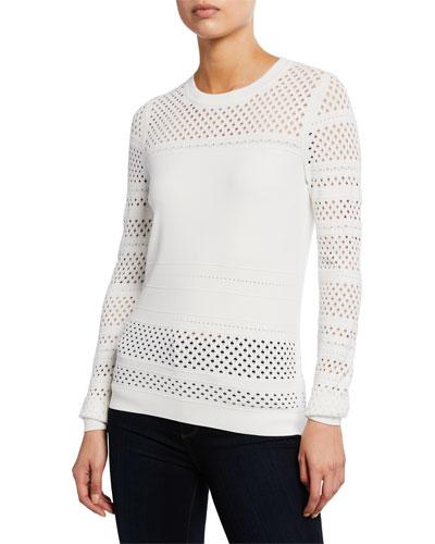 Fontanne Open-Stitch Crewneck Long-Sleeve Sweater
