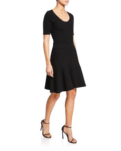 Lark Scoop-Neck Short-Sleeve Scallop Dress