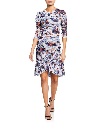 Lila Floral Ruched Flounce Dress