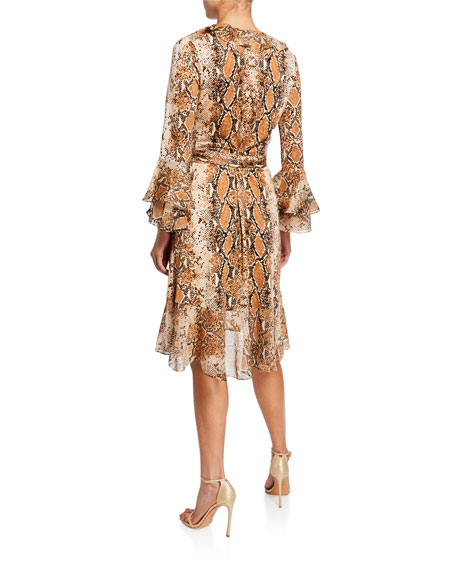 6ba759c19e4 Diane von Furstenberg Carli Silk Tiered-Sleeve Ruffle Wrap Dress