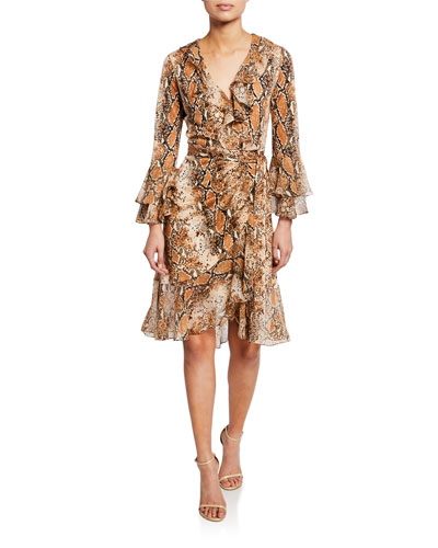Carli Silk Tiered-Sleeve Ruffle Wrap Dress