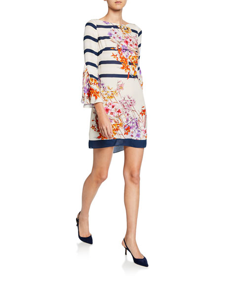 Elie Tahari Dresses ULA STRIPED & FLORAL-PRINT BATEAU-NECK SHIFT DRESS