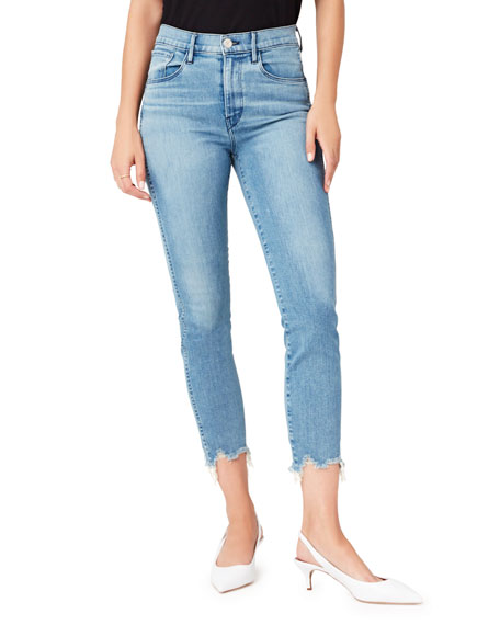 3x1 W3 Frayed Cropped Straight-Leg Jeans