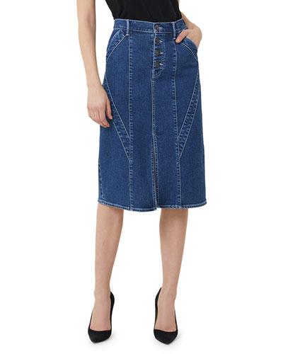 Paneled Button-Fly Split-Front Denim Pencil Skirt