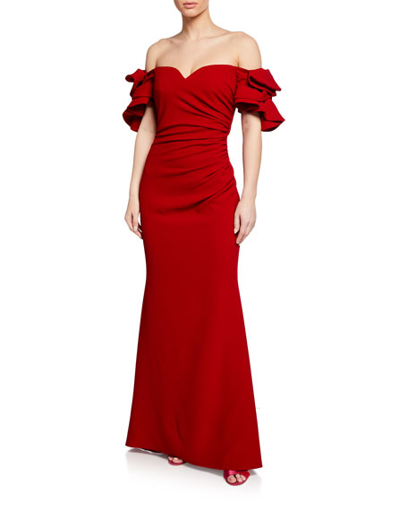 Badgley Mischka Collection Off-the-Shoulder Bow-Sleeve Mermaid Gown