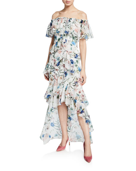 274540513c4 Badgley Mischka Collection Floral-Print Off-the-Shoulder High-Low Tiered  Ruffle Dress