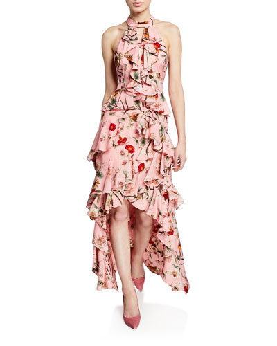 Floral-Print High-Low Tiered Ruffle Halter Gown