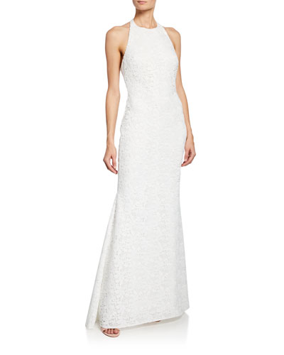 Halter Low-Back Lace Gown