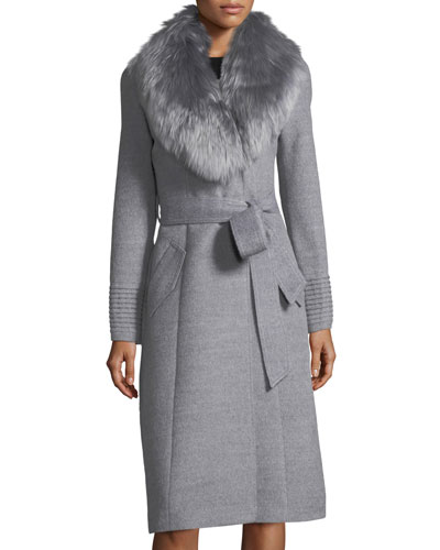 Baby Alpaca Belted Long Coat w/ Fur Collar