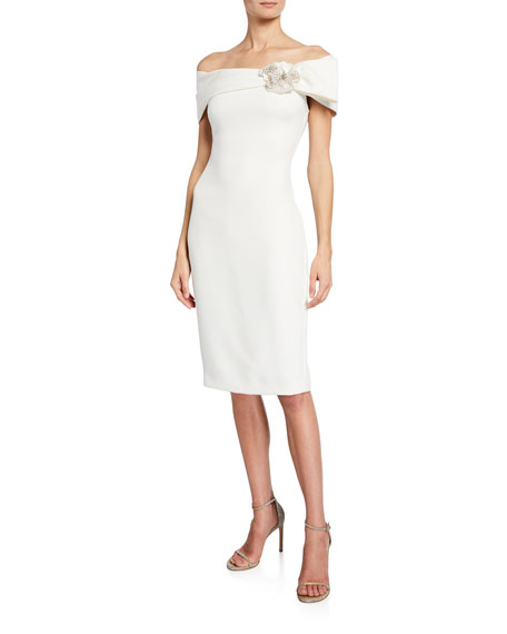 Badgley Mischka Collection Off-the-Shoulder Short-Sleeve Sheath