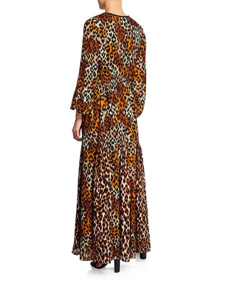 Kiana Animal-Print Long-Sleeve Peasant Dress