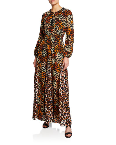 Kiana Animal-Print Long-Sleeve Peasant Dress