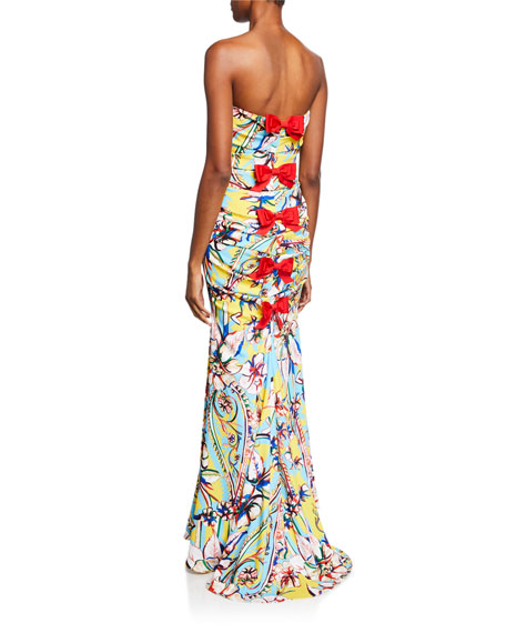 Couture-Print Strapless Bow-Back Gown