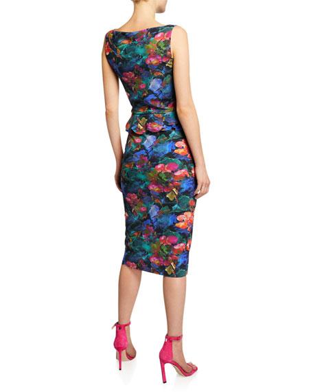 Abstract-Print High-Neck Sleeveless Peplum Dress