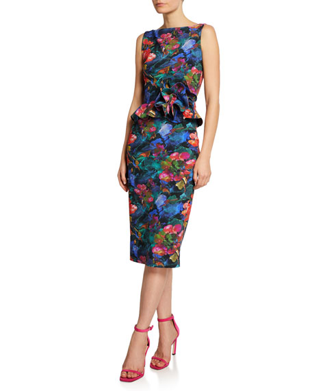 Chiara Boni La Petite Robe Dresses ABSTRACT-PRINT HIGH-NECK SLEEVELESS PEPLUM DRESS