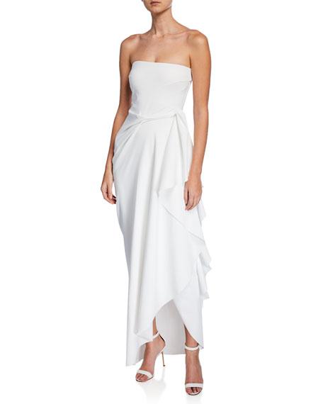 b1b54903d2f Chiara Boni La Petite Robe Nyaveth Strapless Bustier Side-Drape Long Dress