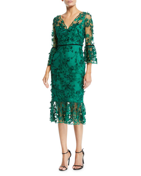 81173362 Marchesa Notte Bell-Sleeve Embroidered 3D Flower Dress In Emerald ...