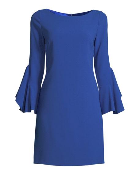 f52210866285 Elie Tahari Dori Boat-Neck Flared-Sleeve Crepe A-Line Dress