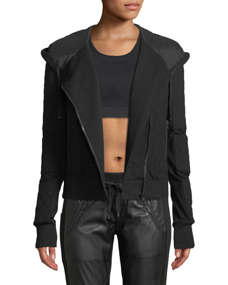 Blanc Noir FRENCH TERRY MESH ZIP-FRONT MOTO JACKET