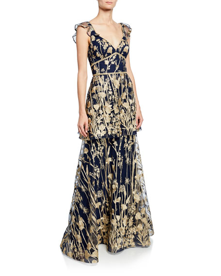 8ed36d24db5ae Marchesa Notte V-Neck Sleeveless Tiered Floral-Embroidered Gown w/ Metallic  Scallop Trim