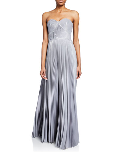 bd2ed16d62c30 Strapless Pleated Lame Gown with Metallic Trim