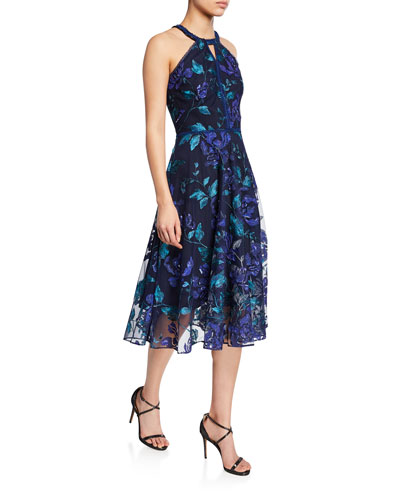 Floral-Printed Laser-Cut Halter Dress with Leaf-Embroidery