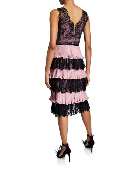 V-Neck Sleeveless Tiered Scallop Lace & Pleated Lame Cocktail Dress