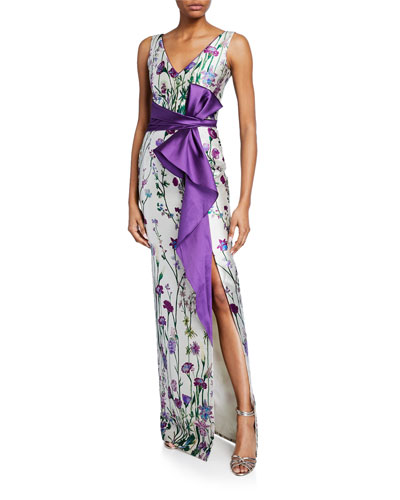 bdde96c98a2 Floral-Print V-Neck Sleeveless Mikado Gown w  Front Slit   Draped Belt