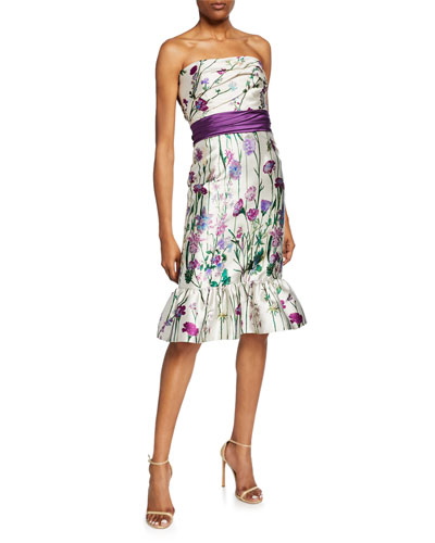 58dca65588f4 Floral-Print Strapless Mikado Dress with Bow Detail & Ruffle Hem Quick  Look. Marchesa Notte