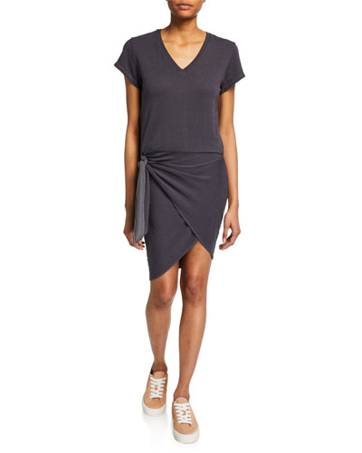 Super-Soft Short-Sleeve V-Neck Dress with Tie