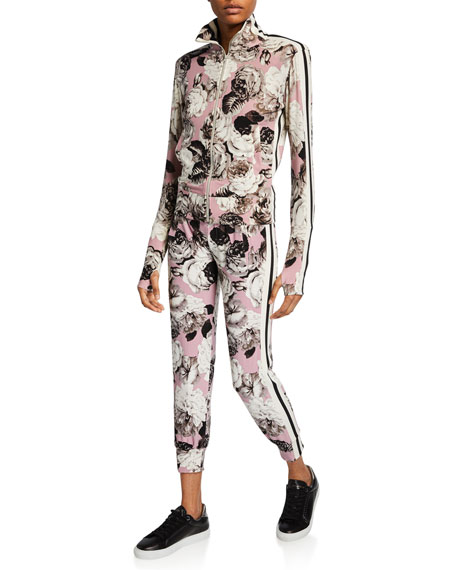 Side-Stripe Floral Jogger Pants