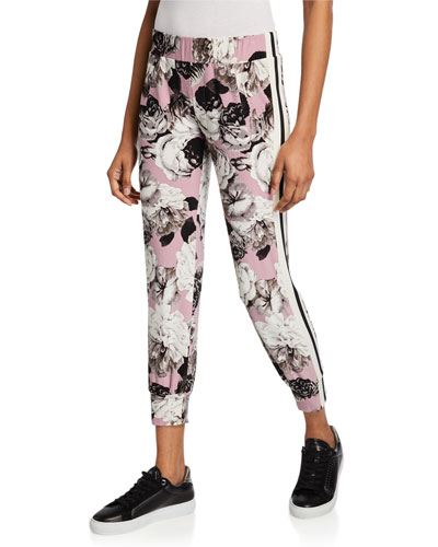 Side-Stripe Floral Jogger Pants