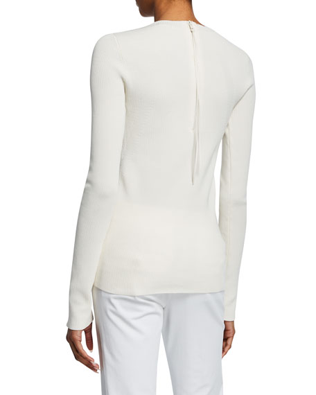 Angel Crewneck Long-Sleeve Back Zip Top