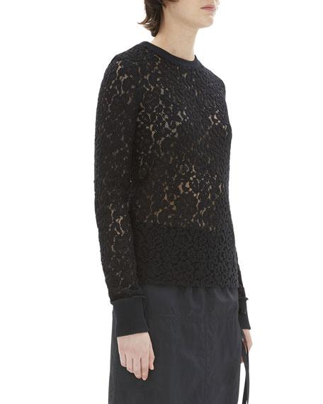 Crewneck Long-Sleeve Lace Top