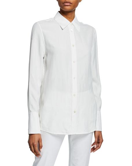 Button-Down Long-Sleeve Silk Jersey Shirt