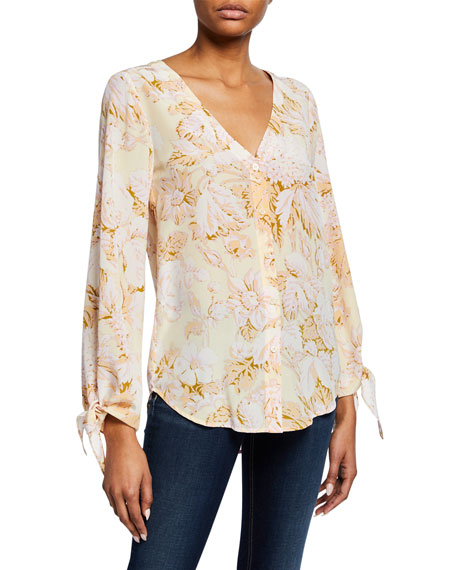 Stine Goya KIMBERLY FLORAL-PRINT BUTTON-FRONT LONG-SLEEVE SILK BLOUSE