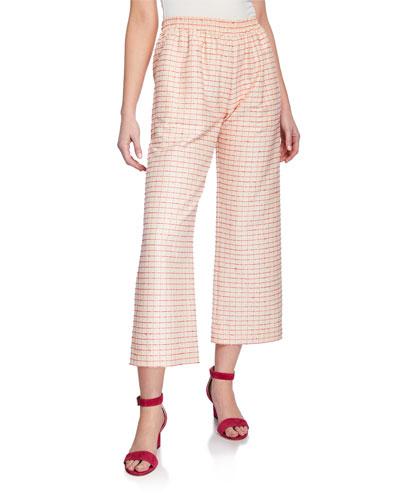 Debra Check Wide-Leg Cropped Pants