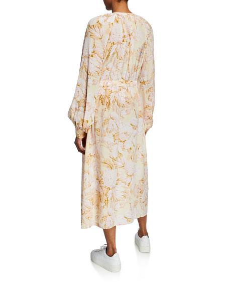 Lydia Floral-Print Button-Down Drawstring-Waist Dress