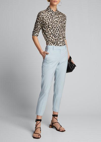 Treeca Skinny-Leg Cropped Traceable Wool Pants