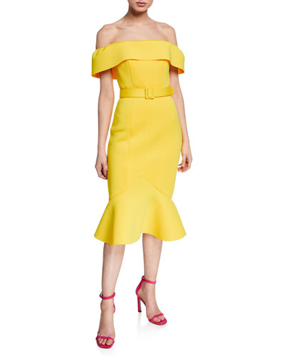 Off-the-Shoulder Short-Sleeve Belted Flounce Hem Scuba Dress
